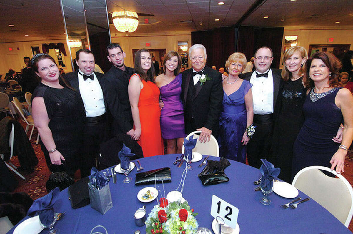 Hour Photo Alex von Kleydorff; Mayor Richard Moccia and wife Barbara are surrounded by his extended family in town from all over, as they prepare to take over Table 12 at The Mayors Ball at Continental manor Friday night.