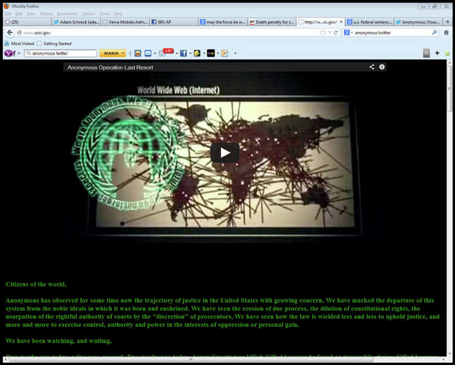 "This screen shot shows the website of the U.S. Sentencing Commission after it was hijacked by the hacker-activist group Anonymous, early Saturday, Jan. 26, 2013, to avenge the death of Aaron Swartz, an Internet activist who committed suicide. The website of the commission, an independent agency of the judicial branch, was replaced with a message warning that when Swartz killed himself two weeks ago ""a line was crossed."" (AP Photo) / U.S. Sentencing Commission"