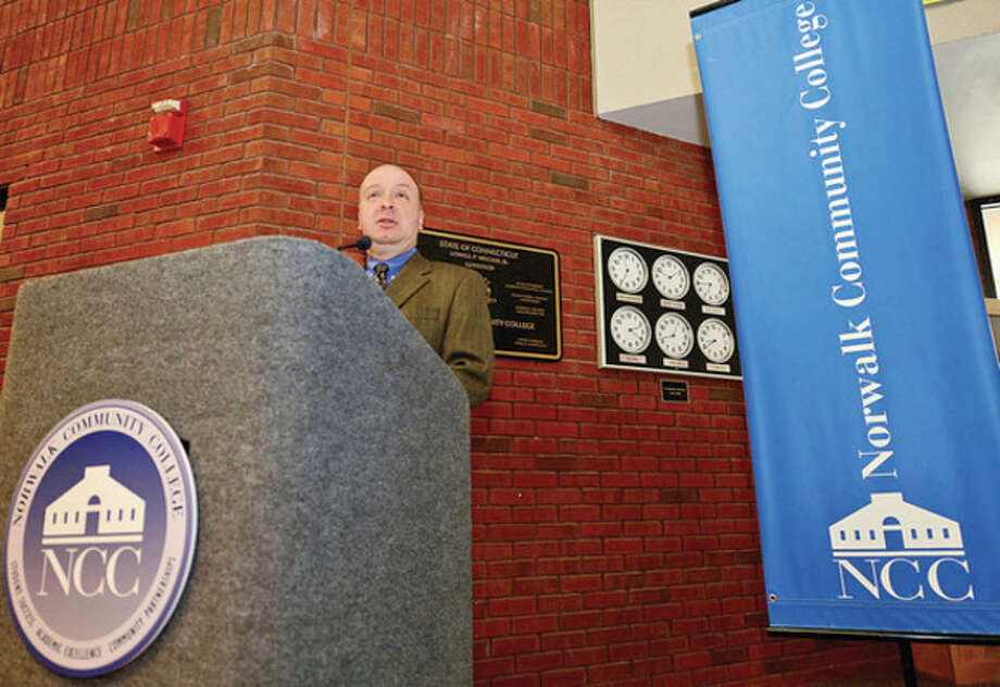 Ron Peruzzi, Senior Tax Specialist at the IRS speaks during the Volunteer Income Tax Credit (VITA) 2013 Campaign Kickoff and Press Conferenece at NOrwalk Community College Friday morning.Hour photo / Erik Trautmann / (C)2012, The Hour Newspapers, all rights reserved