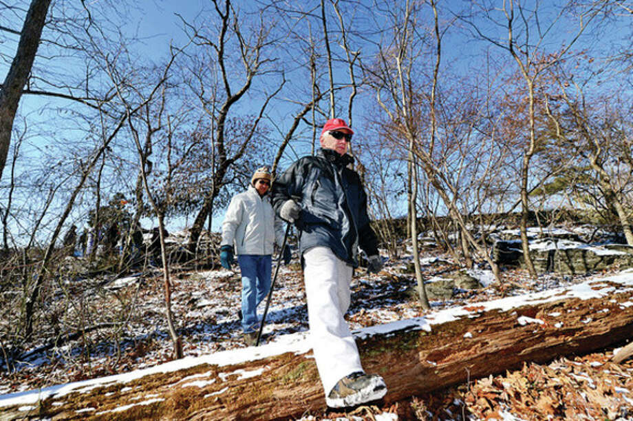 """Scott Kimmich participates in the Friends of Oak Hills Park """"Winter Walk in the Woods"""" Saturday morning viewing the woodland area of the park and talking about the wildlife that live there. Hour photo / Erik Trautmann / (C)2012, The Hour Newspapers, all rights reserved"""