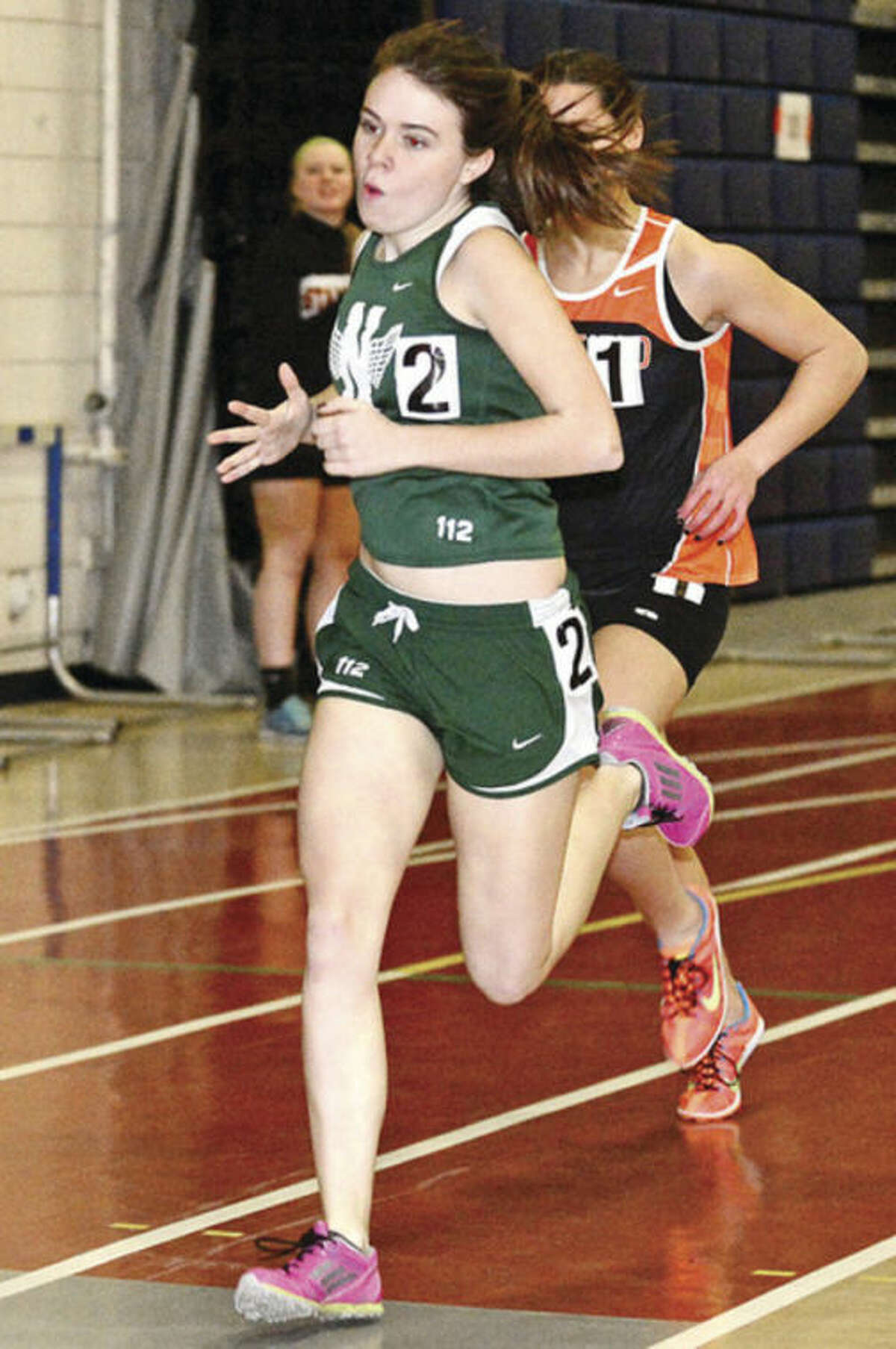 Norwalk High School's Claire Turner competes in the girls 600 meters during the indoor track meet in Wilton at the Zeoli Field House on Saturday. Hour photo/ Erik Trautmann