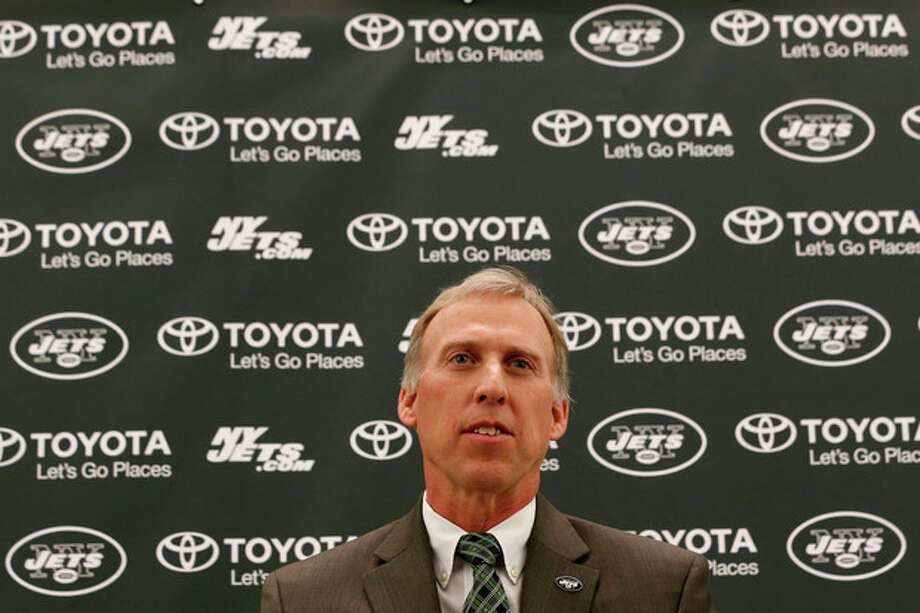 John Idzik talks to the media during an NFL football news conference introducing him as the new new general manager of the New York Jets, Thursday, Jan. 24, 2013, in Florham Park, N.J. (AP Photo/Julio Cortez) / AP