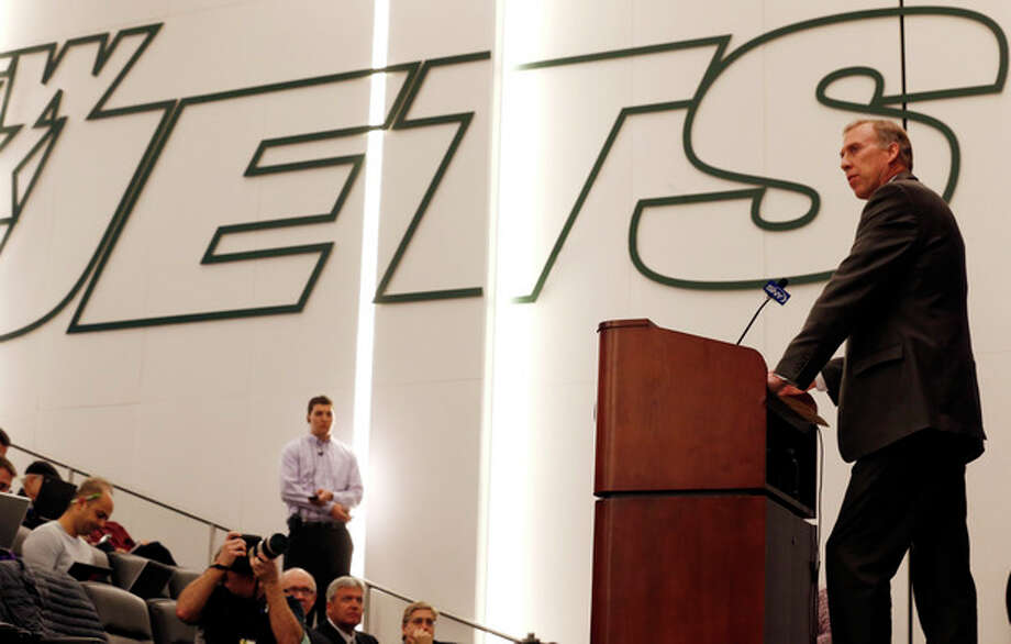 John Idzik talks to the media during an NFL football news conference introducing him as the new new general manager of the New York Jets, Thursday, Jan. 24, 2013, in Florham Park , N.J. (AP Photo/Julio Cortez) / AP