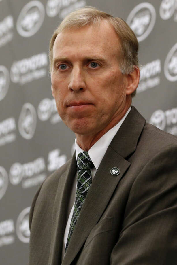 John Idzik talks to the media during an NFL football news conference introducing him as the new new general manager of the New York Jets, Thursday, Jan. 24, 2013, in Florham Park , N.J. (AP Photo/Julio Cortez)
