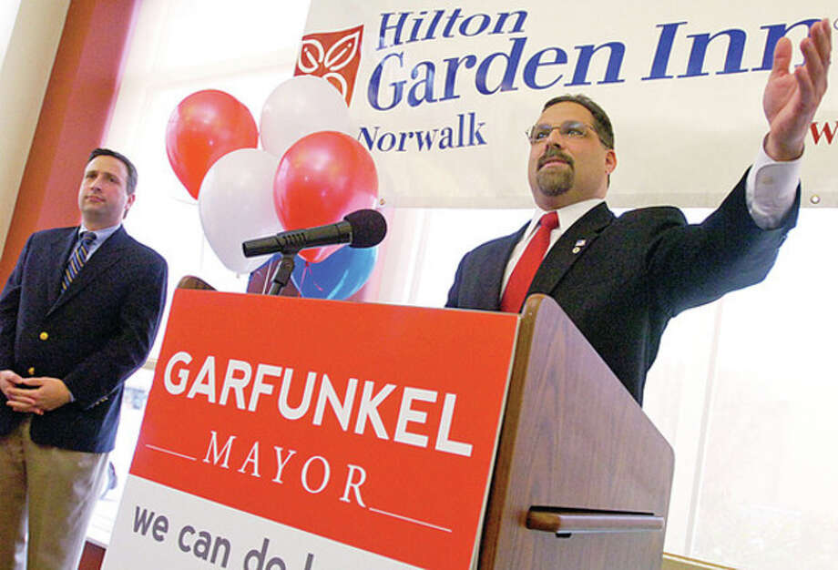 Norwalk Town Clerk Andy Garfunkel announces his candidacy for mayor during a reception at the HIlton Garden Inn Saturday.Hour photo / Erik Trautmann / (C)2011, The Hour Newspapers, all rights reserved