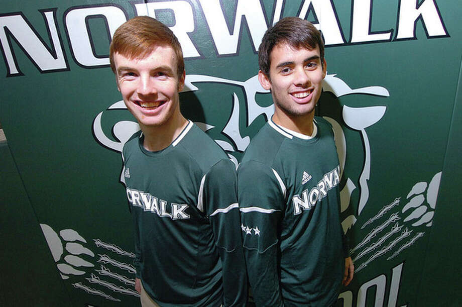 Hour Photo Alex von Kleydorff; L-R Kevin Joslyn and Nach Navarro , Norwalk Soccer / 2013 The Hour Newspapers