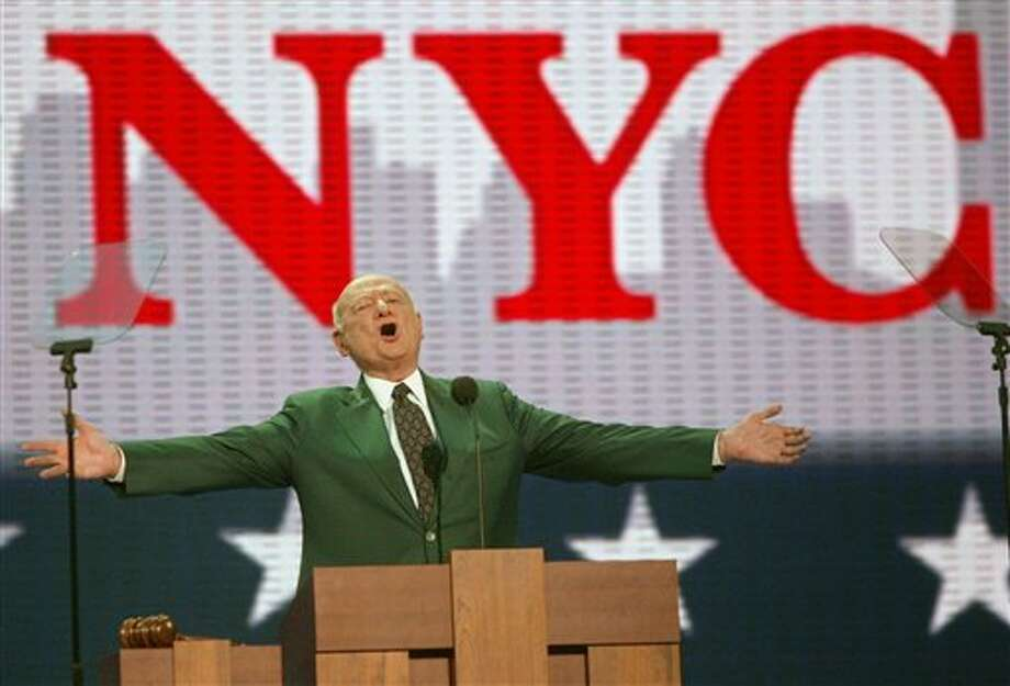 FILE - In this Aug. 30, 2004, file photo, former New York Mayor Ed Koch speaks at the first day of the Republican National Convention in New York. Koch, the combative politician who rescued the city from near-financial ruin during three City Hall terms, has died at age 88. Spokesman George Arzt says Koch died Friday morning Feb. 1, 2013 of congestive heart failure. (AP Photo/Joe Cavaretta, File) / AP