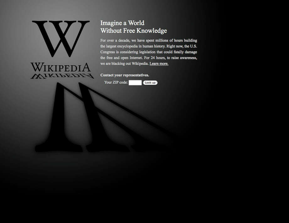 "This screen shot shows the blacked-out Wikipedia website, announcing a 24-hour protest against proposed legislation in the U.S. Congress, intended to protect intellectual property that critics say could facilitate censorship, referred to as the ""Stop Online Piracy Act,"" or ""SOPA,"" and the ""Protect IP Act,"" or ""PIPA."" (AP Photo/Wikipedia) / Wikipedia"