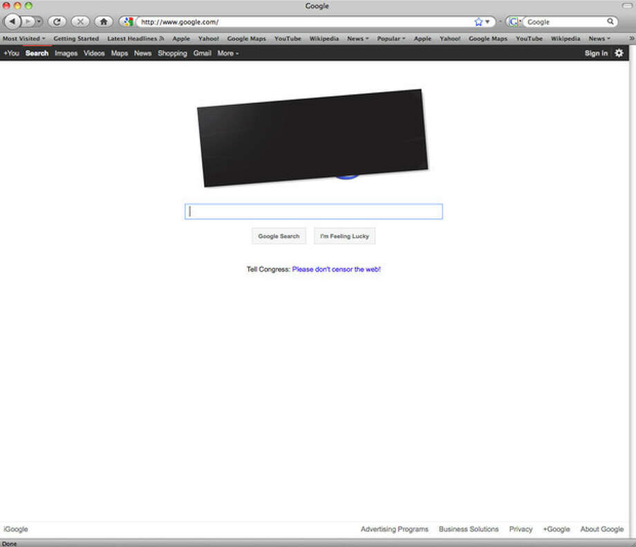 This screen shot shows the home page Google.com. A campaign whose backers include tech heavyweights like Google Inc. and Yahoo Inc. has successfully portrayed the bills _ the Stop Online Piracy Act and Protect Intellectual Property Act _ as an attack on a free and open Internet rather than a way to protect the jobs of Americans in the movie and music industries, in a protest Wenesday, Jan. 18, 2012. (AP Photo/Google.com) / Google.com