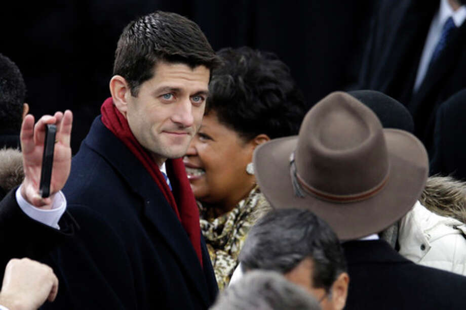 Rep. Paul Ryan, R-Wis., arrives at the ceremonial swearing-in for President Barack Obama at the U.S. Capitol during the 57th Presidential Inauguration in Washington, Monday, Jan. 21, 2013. (AP Photo/Carolyn Kaster) / AP