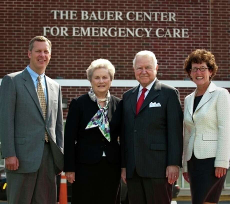 Norwalk Hospital received a $2.5 Million gift from the Bauer Foundation to enhance and expand The Bauer Center for Emergency Care. From left to right, Dan DeBarba, President & CEO, Norwalk Hospital, Carol and George Bauer of Wilton, Mary Franco, President, Norwalk Hospital Foundation and Vice President, Public Affairs at Norwalk Hospital. / 2011
