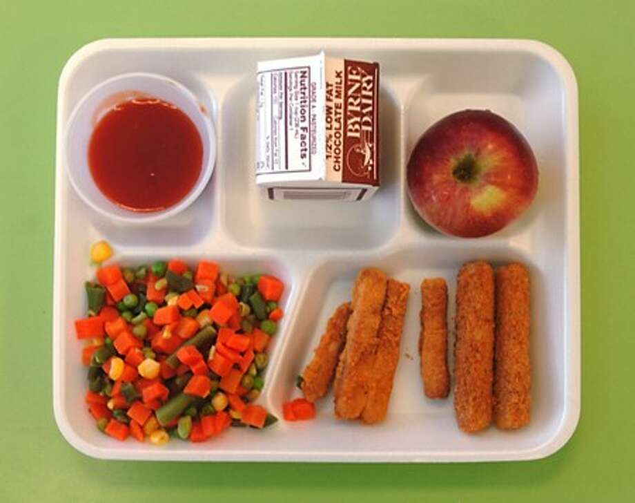 The hot lunch menu item at Kendall Elementary School Thursday is Mix it Up Day with mozzarella and chicken sticks. Hour photo / Erik Trautmann
