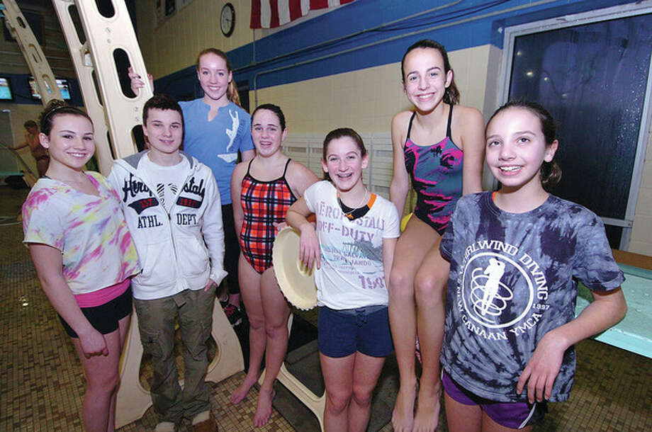 Hour photo/Alex von KleydorffLocal divers competing in the annual Whirlwind Winter Weekend include, left to right, Rachel Burston, Sean Burston, Kirsten Parkinson, Aislinn Callahan, Sophia Rapp, Melinda Henesey and Allison Courtney. / 2013 The Hour Newspapers