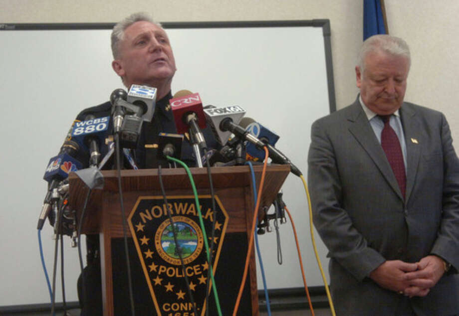 Norwalk Police Chief Harry Rilling and Mayor Richard Moccia hold a press conference on Tuesday at the Norwalk Police Headquarters with new information concerning Officer Matthew Morelli/hour photo matthew vinci