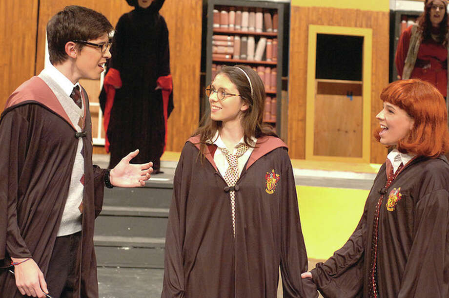 Hour Photo/ Alex von Kleydorff. L-R Best freinds JD Tamucci as Herman Knee, Eleanor Clifford as Mary Potter and Jenna Mason as Pam Beasley in Mary Potter / © 2012 The Hour Newspapers