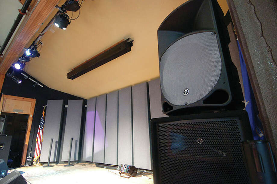 Hour Photo/ Alex von Kleydorff. The stage at Trackside Teen Center with a new floor some acoustic panels and some new audio gear. / © 2012 The Hour Newspapers