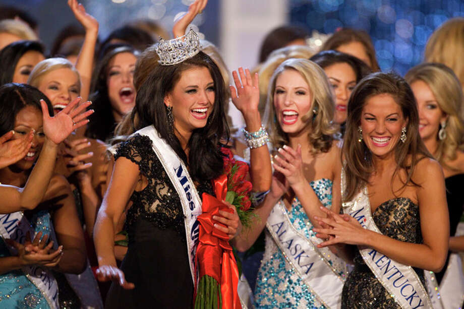 Miss Wisconsin Laura Kaeppeler reacts after being crowned Miss America Saturday Jan. 14, 2012 at The Planet Hollywood Resort & Casino in Las Vegas. (AP Photo/Eric Jamison) / FR156391 AP