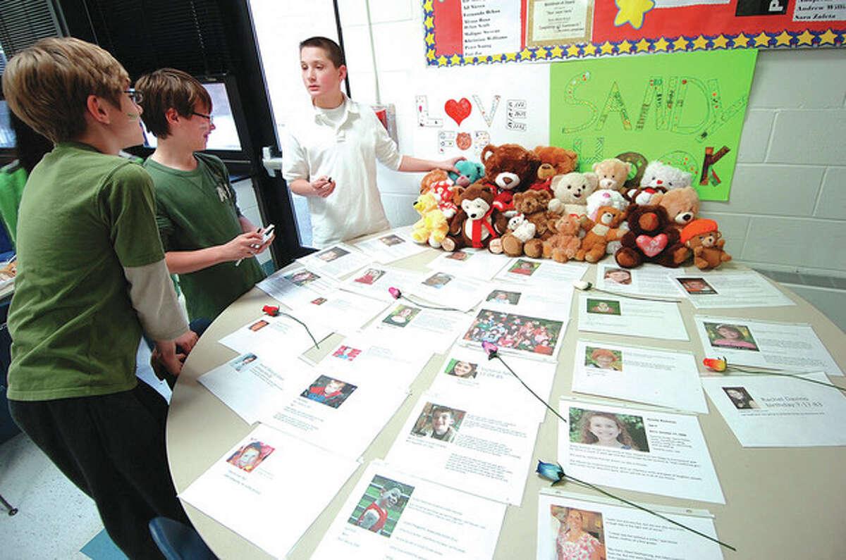 Hour photo / Alex von Kleydorff Students at Roton Middle School participate in Love Sandy Hook Day.