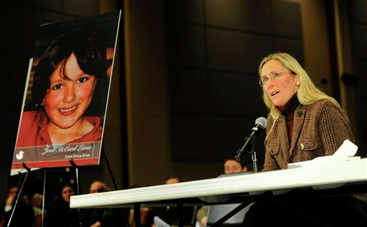 Scarlett Lewis, mother of Sandy Hook Elementary School shooting victim Jesse Lewis, speaks during a hearing of a legislative task force on gun violence and children's safety at Newtown High School in Newtown, Conn., Wednesday, Jan. 30, 2013. Connecticut lawmakers are in Newtown for the hearing, where those invited to give testimony include first responders and families with children enrolled at Sandy Hook Elementary. (AP Photo/Jessica Hill)