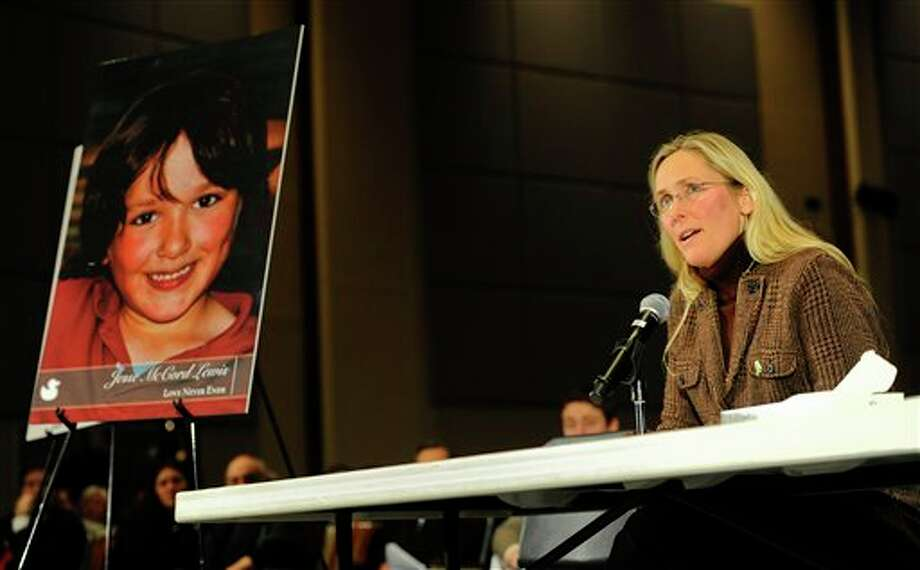 Scarlett Lewis, mother of Sandy Hook Elementary School shooting victim Jesse Lewis, speaks during a hearing of a legislative task force on gun violence and children's safety at Newtown High School in Newtown, Conn., Wednesday, Jan. 30, 2013. Connecticut lawmakers are in Newtown for the hearing, where those invited to give testimony include first responders and families with children enrolled at Sandy Hook Elementary. (AP Photo/Jessica Hill) / FR125654 AP