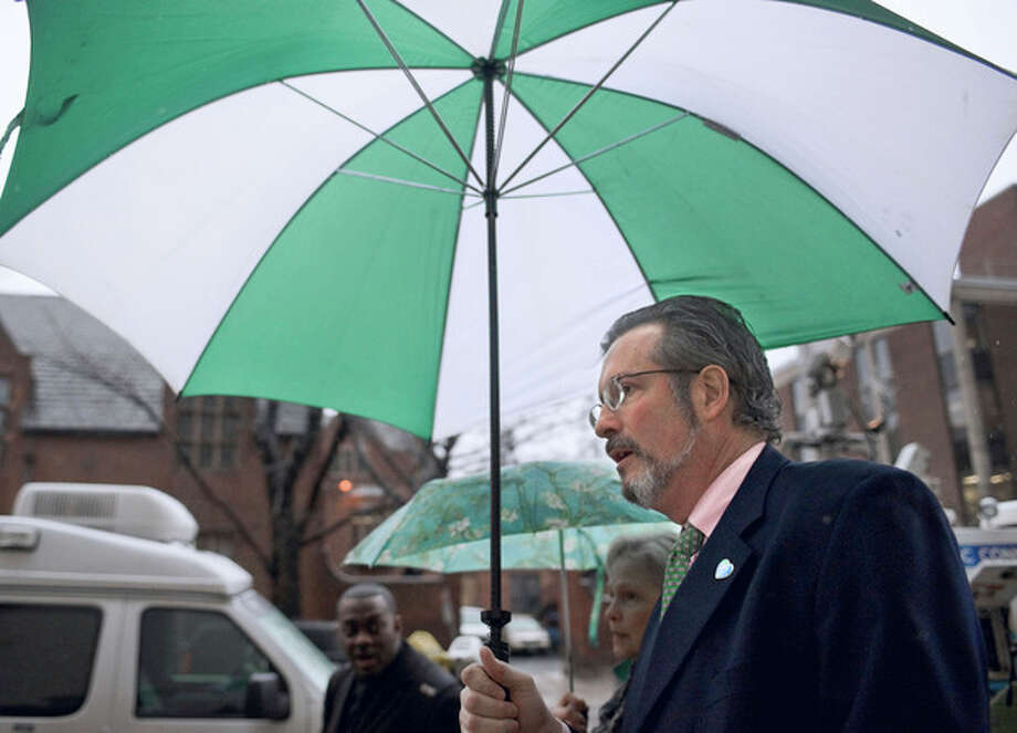 Dr. William Petit Jr. arrives at Superior Court in New Haven for the formal sentencing of Joshua Komisarjevsky in New Haven, Conn., Friday, Jan. 27, 2012. Komisarjevsky is joining co-defendent Steven Hayes on death row for the 2007 killings of Jennifer Hawke-Petit and her daughters, Hayley and Michaela, in their Cheshire home. Petit is the sole survivor of the crime. (AP Photo/Jessica Hill) / AP2011