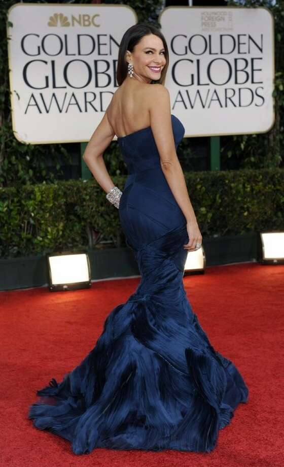 Sofía Vergara arrives at the 69th Annual Golden Globe Awards Sunday, Jan. 15, 2012, in Beverly Hills, Calif. (AP Photo/Chris Pizzello)