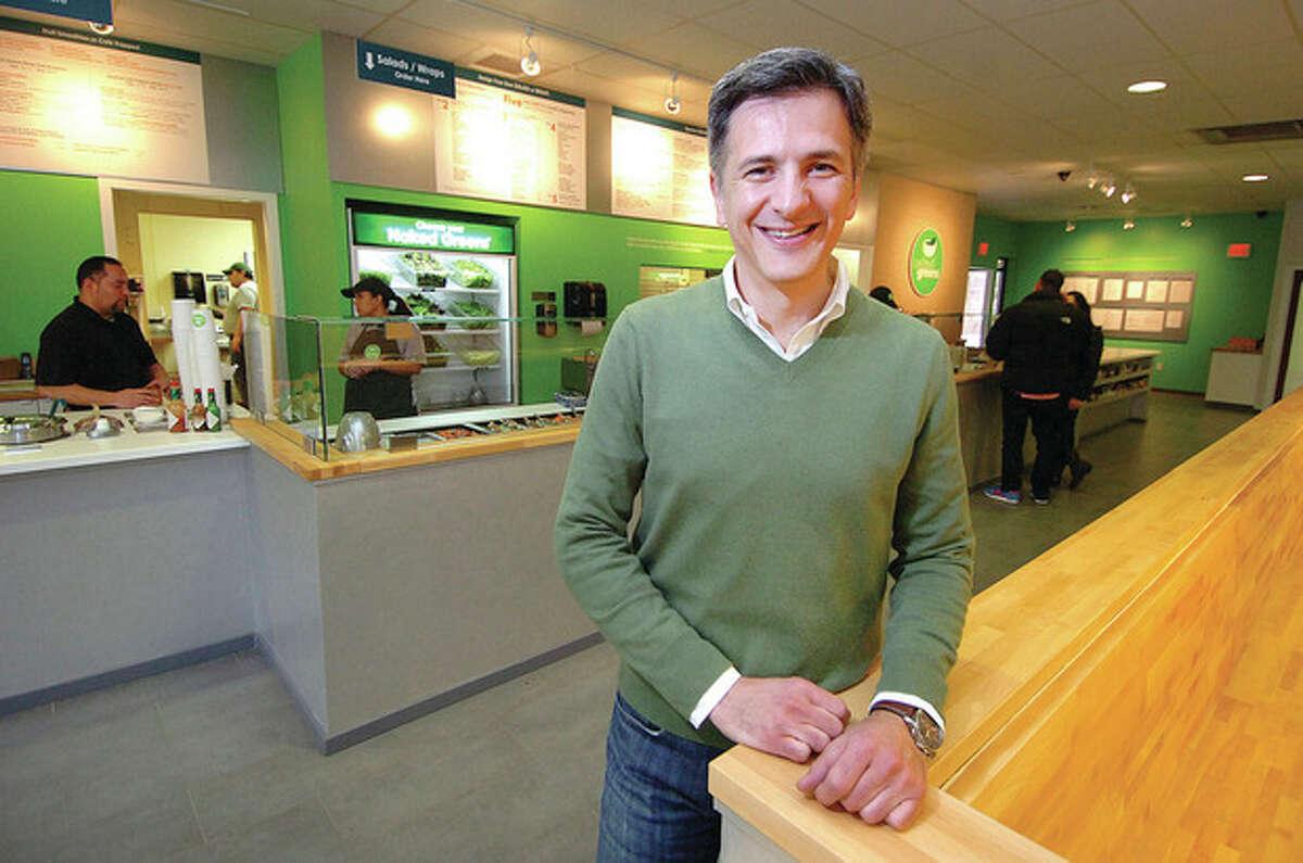 Hour Photo Alex von Kleydorff; Naked Greens owner Victor Melendez in his Wilton Restaurant