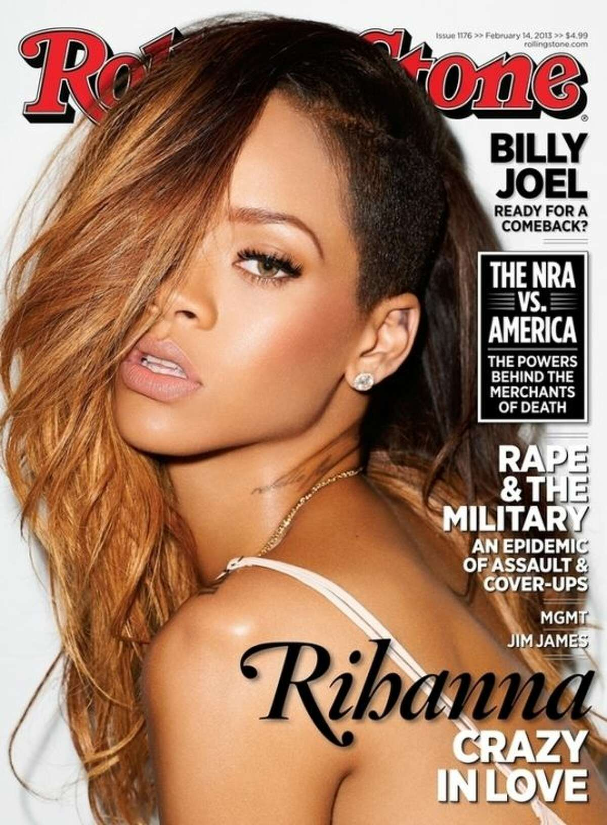 """This magazine cover image released by Rolling Stone shows performer Rihanna on the cover of the February 2013 issue of the popular music magazine. Rihanna talks about getting back together with her ex-boyfriend, Chris Brown, and what it means for her public image. """"I decided it was more important for me to be happy,"""" she tells the new issue of Rolling Stone. """"I wasn't going to let anybody's opinion get in the way of that. Even if it's a mistake, it's my mistake. Brown assaulted the pop starr after a pre-Grammy Awards party in 2009. The issue hits news stands on Friday, Feb. 1. (AP Photo/Rolling Stone)"""