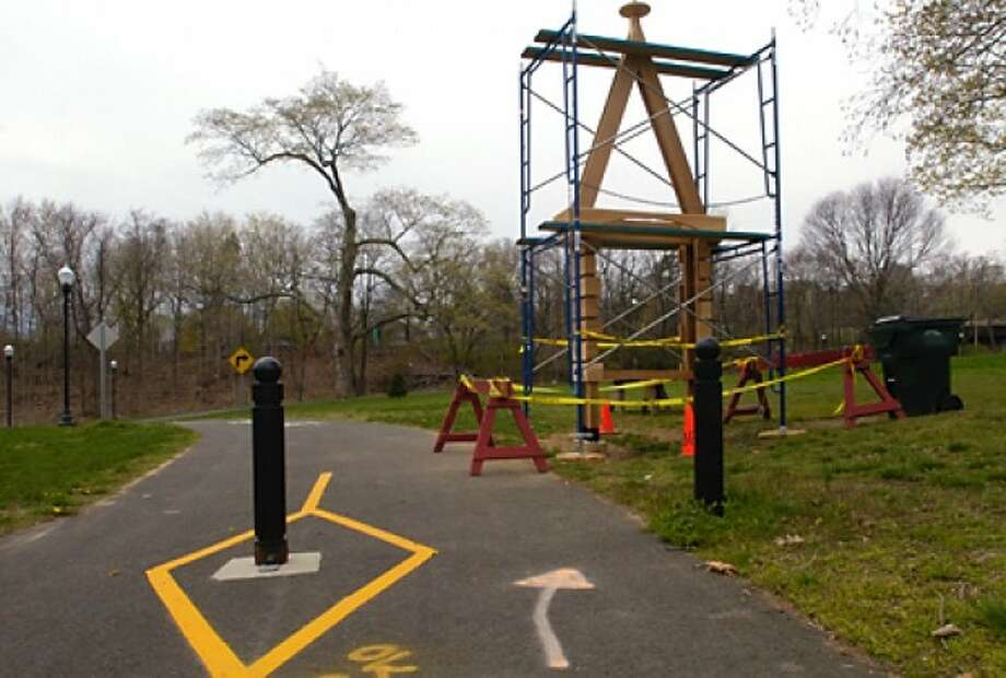 The new kiosk for the Norwalk River Valley Trail in Mathews Park on West Avenue in Norwalk. The kiosk is located at a trail head and NRVT parking lot will include trail maps of the region. The kiosk was funded by a REI grant (Recreational Equipment Inc) awarded to the NRWA for improvements and maintenance of the trai and was constructed and installed by the Norwalk Department of Recreation and Parks. Hour photo / Erik Trautmann