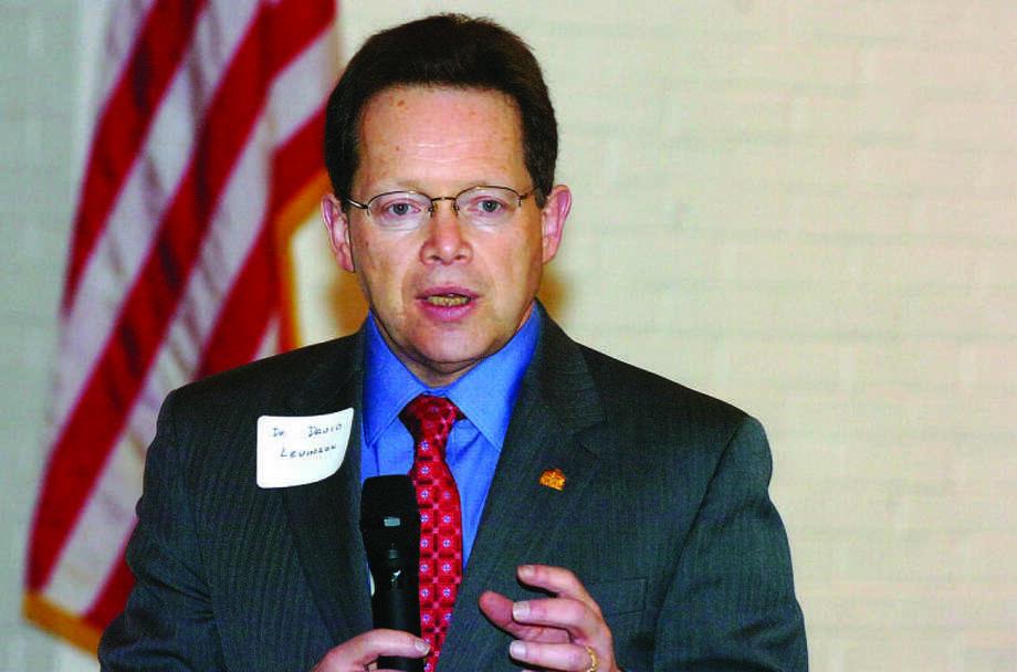 NCC President Dr. David Levinson speaks to Wilton Kiwanis on Wednesday.