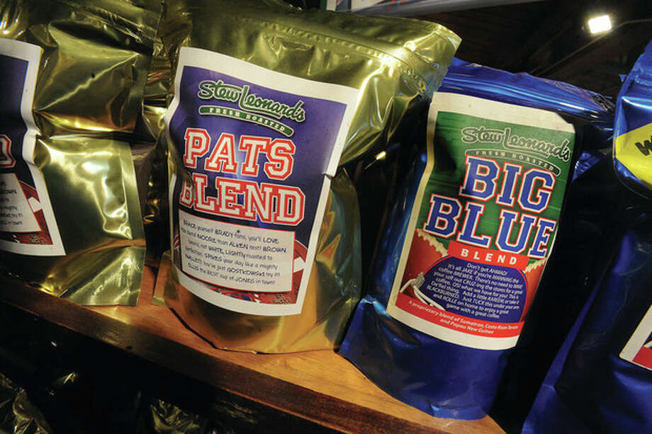 Coffee blends at Stew Leonards for both teams that will match up in the Superbowl this Sunday. hour photo/Matthew Vinci