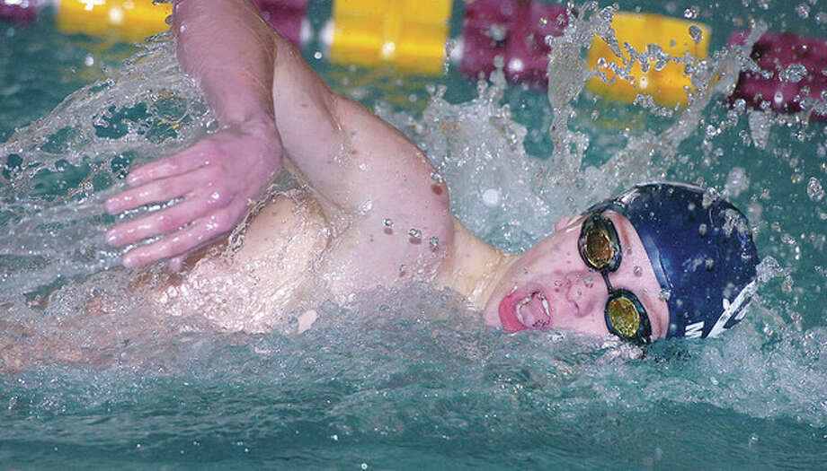 Hour Photo Alex von Kleydorff; Mason Molina swims the 200 Free for Wilton vs Trumbull / 2013 The Hour Newspapers