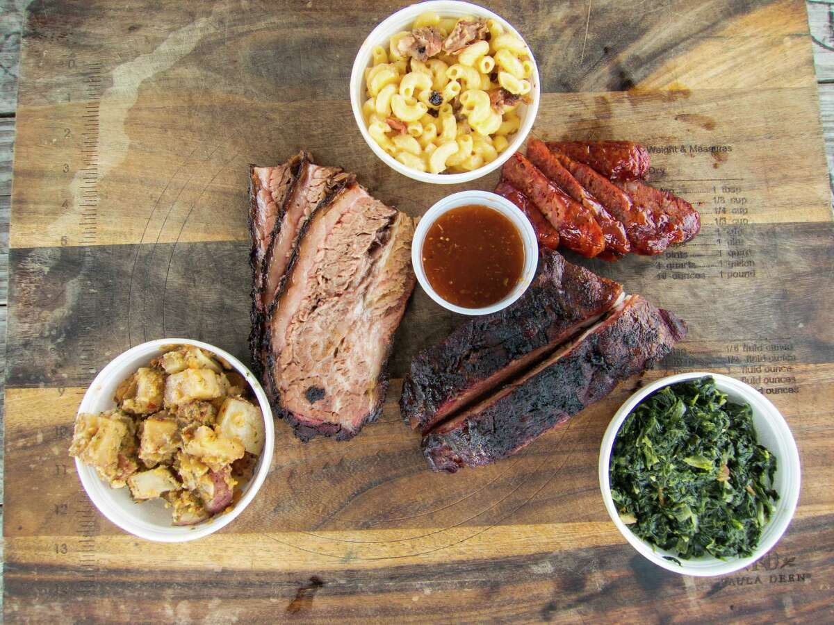 Brooks Place BBQ Cuisine: Barbecue Entree price: $ Where: 18020 FM 529, Cypress Phone: 832-893-1682 Website: brooksplacebbq.com Read Alison Cook's review of Brooks Place BBQ. Pictured above: Brisket, ribs, sausage and side dishes