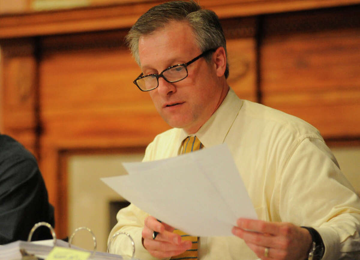 Director of Finance Thomas S. Hamilton presents his recommended 2011-12 operating budget for Board of Estimate and Taxation at Norwalk City Hall Monday. hour photo/matthew vinci