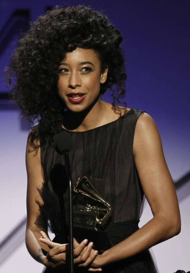 Corinne Bailey Rae accepts the award for best R&B performance at the 54th annual GRAMMY Awards pre-show on Sunday, Feb. 12, 2012 in Los Angeles. (AP Photo/Matt Sayles)