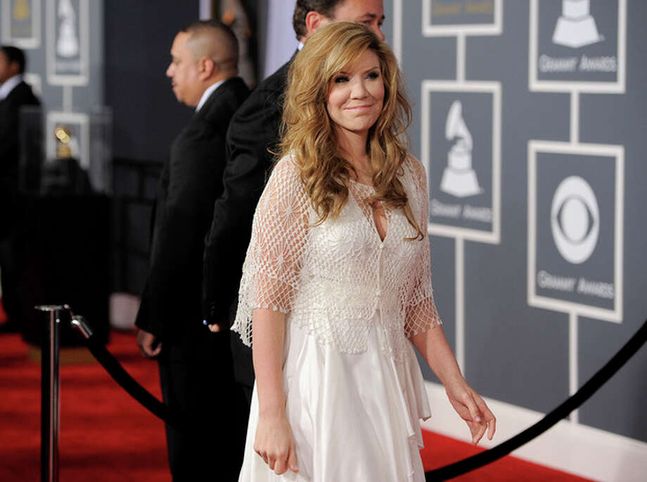 Alison Krauss arrives at the 54th annual GRAMMY Awards on Sunday, Feb. 12, 2012 in Los Angeles. (AP Photo/Chris Pizzello) / AP