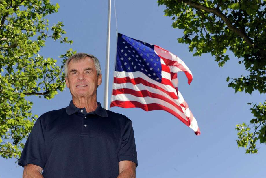 David Lydem was the keeper of the flag in Newtown for 33 years. This is his first year without these duties on Flag Day.  Photo Tuesday, June 14, 2016 Photo: Carol Kaliff / Hearst Connecticut Media / The News-Times