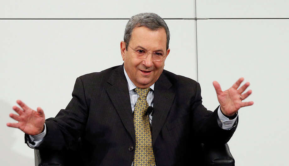 Israeli Defense Minister Ehud Barak gestures during a meeting at the Security Conference in Munich, southern Germany, on Sunday, Feb. 3, 2013. The 49th Munich Security Conference started Friday until Sunday with experts from 90 delegations. (AP Photo/Matthias Schrader) / AP