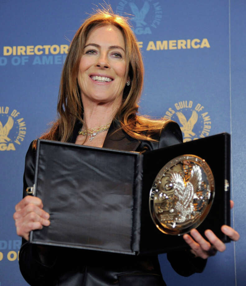 "Kathryn Bigelow poses backstage with her feature film nomination plaque for ""Zero Dark Thirty"" at the 65th Annual Directors Guild of America Awards at the Ray Dolby Ballroom on Saturday, Feb. 2, 2013, in Los Angeles. (Photo by Chris Pizzello/Invision/AP) / Invision"