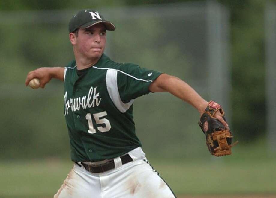 Spencer Jacoby Norwalk High School starting pitcher vs. Brien McMahon. hour photo/matthew vinci