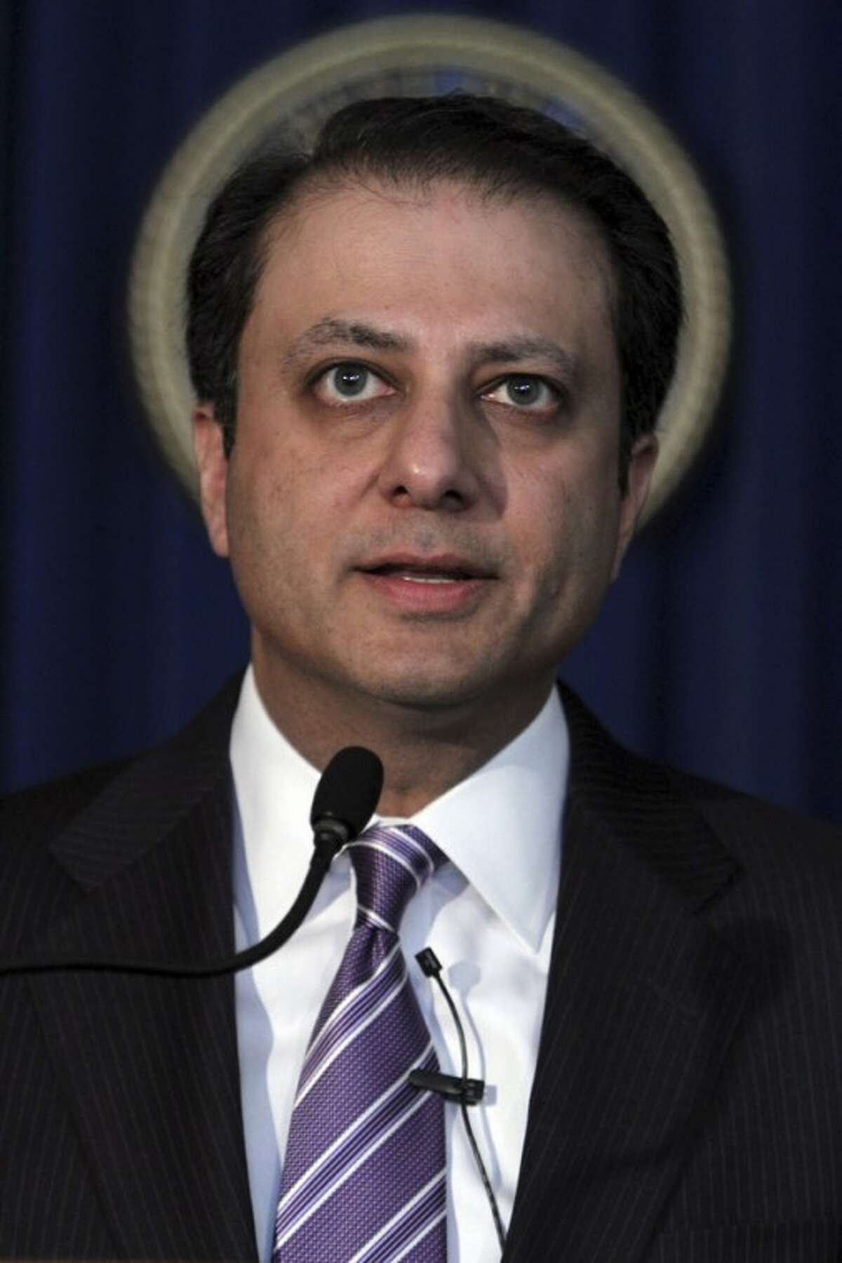 U.S. Attorney Preet Bharara speaks during a news conference, Wednesday, Jan. 18, 2012 in New York. A hedge fund co-founder, four financial analysts and a Dell Inc. employee teamed up in a record-setting insider trading scheme that netted more than $61.8 million in illegal profits based on trades of a single stock, authorities said Wednesday. They described a cozy network of friends in finance who made the most of their connections with corrupt employees of technology companies. (AP Photo/Mary Altaffer)