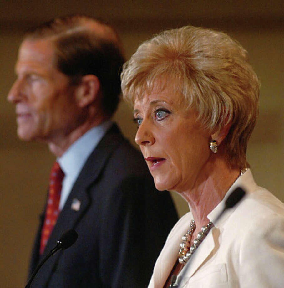 Linda McMahon answers questions during a senatorial debate at Continental Manor in Norwalk in 2010. Hour photo / Erik Trautmann / (C)2010 The Hour