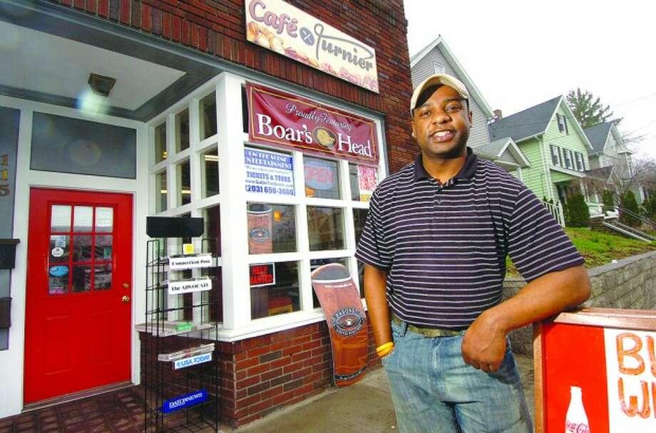 Photo/Alex von Kleydorff Owner Ernst Turnier in front of his restaurant Cafe Turnier on Main St Norwalk