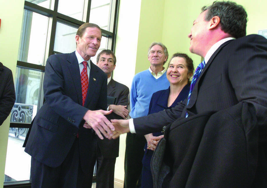 Sen. Richard M. Blumenthal at the Old Toen Hall in Stamord, where he announced that he will conduct a two week walking tour to discuss the economy.