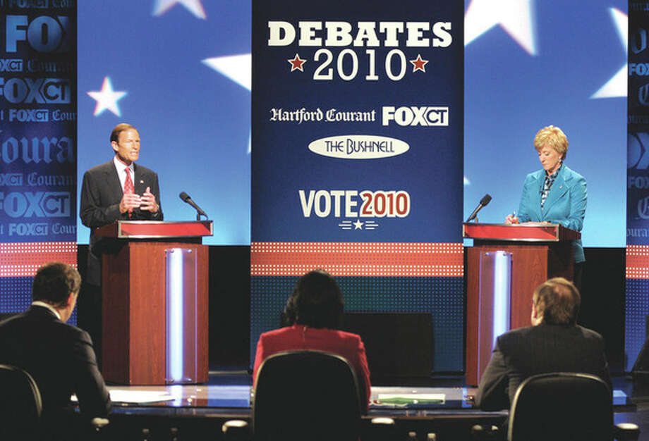 Democratic candidate for U.S. Senate Richard Blumenthal, left, and Republican candidate for U.S. Senate Linda McMahon, right, debate in Hartford, Conn., on Monday, Oct. 4, 2010. (AP Photo/Rich Messina, Pool) / AP2010