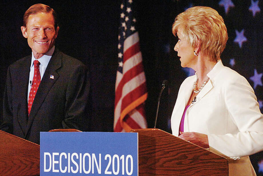 Candidates for Connecticut Senator, attorney general Richard Blumenthal and republican Linda McMahon, battle it out during the senatorial debate at Continental Manor in Norwalk Thursday morning. Hour photo / Erik Trautmann / (C)2010 The Hour