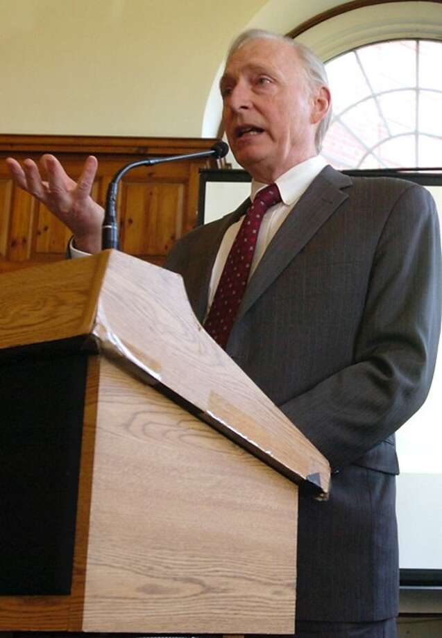 John O''Brien of the US Interagency Council on Homelessness speaks at the unveiling of the Greater Norwalk Ten Year Plan to End Homelessness at Norwalk City Hall Thursday. Hour photo / Erik Trautmann