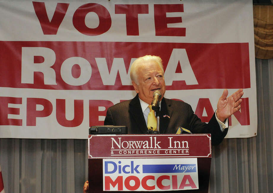 Hour photo / Matthew VinciNorwalk Mayor Richard A. Moccia announces Tuesday that he will seek a fifth term as mayor at the Norwalk Inn and Conference Center.