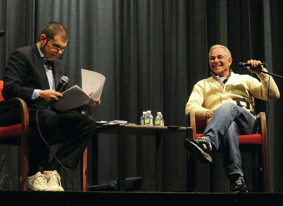 Ed Randall does a question and answer forum with Stamford native and Boston Red Sox manager Bobby Valentine Sunday for the Bat for a Cure event at Rippowam Middle School. photo/Matthew Vinci / (C)2011 {your name}, all rights reserved