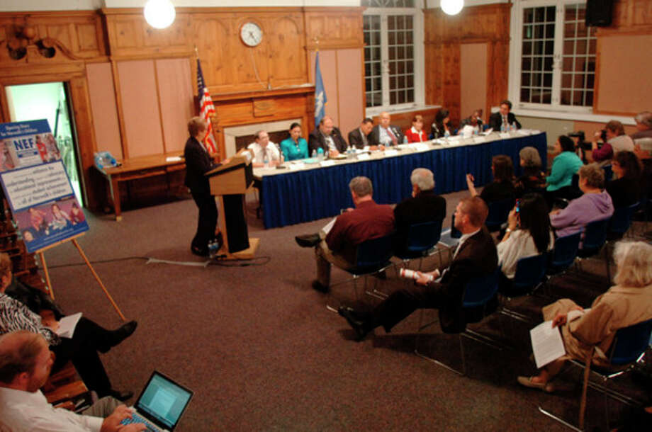 Hour photo / Erik Trautmann At-large candidates for the Common Council debate at the Norwalk City Hall Community Room on Thursday night. / (C)2011, The Hour Newspapers, all rights reserved